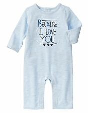 NEW Gymboree Baby Boys 0-3 mos I Love You Blue Cotton Jumpsuit One-Piece