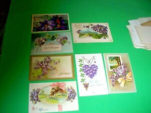 7 Antique Postcard lot BIRTHDAY purple flowers violets posted 1910  1913  1914