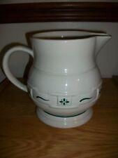 Longaberger Pottery Pitcher woven green Traditions Ivory 2 Qt Euc Ln