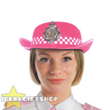 ADULT PINK WPC POLICE WOMAN HAT FANCY DRESS BRITISH OFFICER COPPER HEN PARTY