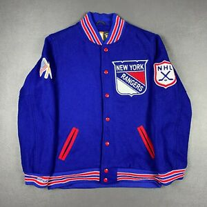 100% Authentic NY Rangers Mitchell & Ness Wool Jacket Size 40 M Mens