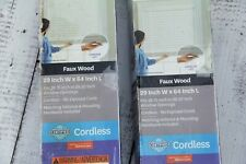 Better Homes & Gardens 2 PK 2-Inch Cordless Faux Wood Blinds Antique White 29x64