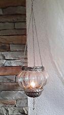 ❀ Hängewindlicht Glas Hängeleuchter Silbern Nostalgie Windlicht zum Hängen #12A