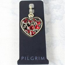 PILGRIM Clasp-On-Charm Vintage Gold/Ruby Red Enamel LOTS-OF-LOVE Heart BNWT