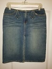 LiX Solid Blue Denim 100% Cotton Pencil Straight Above Knee Sexy Skirt L
