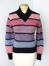 Vgc Vtg 70s Mod Black Pink Purple Rugby Stripe Silver Sparkle Disco Sweater M