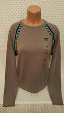NWT Victoria's Secret PINK Varsity Pullover Sweatshirt Gray Long Sleeve S