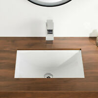 White Procelain Rectangular Bathroom Sink with Overflow Ceramic Undermount sink