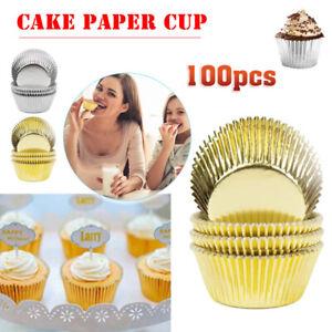 100pcs Foil Metallic Paper Cupcake Cases Liners Muffin Cake Baking Tools set vb