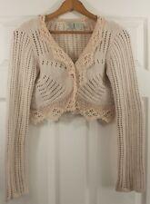 Anthropologie HWR Crochet Angora Beige Wool Blend Shrug Cardigan Sweater Size M