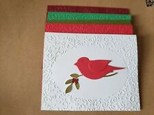 Embossed Christmas Note Cards - 5 (4 x 5) assorted with white Envelopes - Blank
