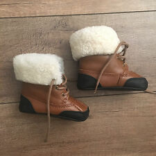 NWOB! Ralph Lauren Baby Polo Leather Boots with Fur Trim Size 3