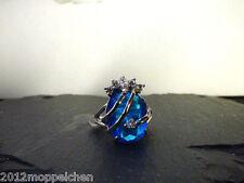 Traumhafter blauen Zirkon-Zirkonia Ring(Grösse 18)18 Karat Gelbgold Platiniert