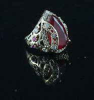 925 Sterling Silver Handmade Authentic Turkish Ruby Ladies Ring Size 6-11