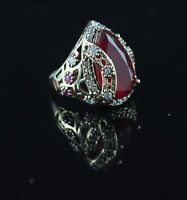 TURKISH HANDMADE RUBY STERLING SILVER 925K BRONZE RING SIZE 6,7,8,9,10