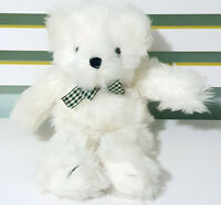Fancy Zoo White Teddy Bear w/ Plaid Bow Plush Toy Children's Soft Toy 21cm Tall!