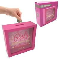 Girls Just Wanna Have Funds Pink Wooden Money Box Piggy Bank Hen Party Gift