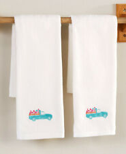 Spring Truck Set of 2 Hand Towels Country Farmhouse Floral Bathroom Decor