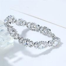 100% New Shinny White Topaz Gemstone Charm Women Jewelry Gift Silver Bracelets