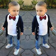 3Pcs Kids Baby Boys Long Sleeve T-Shirt Tops + Cardigan Coat + Pants Outfits Set