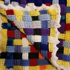 "Woven Crochet Strips Handmade Afghan 34"" Square Lap Blanket Baby Crib Quilt"