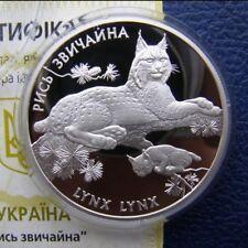 LYNX LYNX Eurasian Ukraine 2001 Coin 10 UAH Proof Silver 1Oz Fauna Animal KM 115