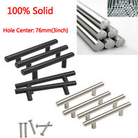 100% Solid Kitchen Cabinet Handles T Bar Stainless Steel Drawer Pulls 76mm