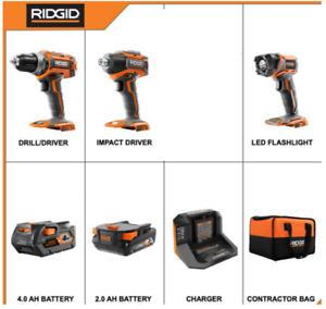 Ridgid 18v brushless 3 tool kit - drill, impact driver, LED, 4AH, 2AH batteries