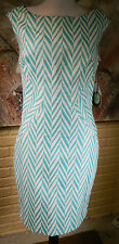 NWT GORGEOUS EVA FRANCO TEAL/WHITE AMBIANCE ANA MARIA SZ 6 TEXTILE SHIFT DRESS
