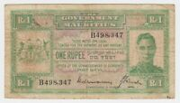 Mauritius 1 Rupee 1940 P26 Fine F + Currency Note KGVI British King George