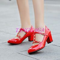 Womens Patent Leather Plus Size Rivet Mary Jane Ankle Strap Mid Block Heel Shoes
