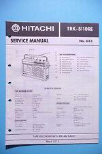 Manuel de reparation pour Hitachi TRK-5110 ,ORIGINAL
