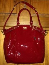 Coach Madison Lindsey Red Patent Leather Convertible Satchel Handbag Bag 18627