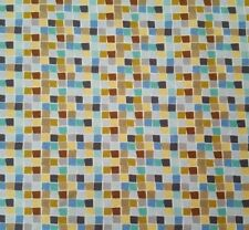 Born Wild BTY Ana Davis Blend Fabrics Blue Green Brown Gray Tiny Block Plaid
