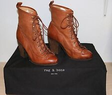 Rag & Bone Brown Leather Miles Lace Up Ankle Boots Sz 6