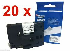 20 Pack TZ 231 Compatible Label Tape 12mm x 8m Brother P-Touch Black On White