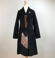 Custo Barcelona Coat UK Size 8 10 Black Fine Corduroy Patchwork Womens Chest 34""