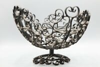 Antique Vintage Wrought Iron Fruit Basket Scroll Bowl Made in Spain