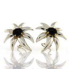 18K Gold Sterling Silver Tiffany & Co Fireworks Black Onyx Clip Earrings