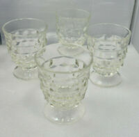 Set of 4 Footed Juice Glasses Fostoria American Clear Glass Cubist Vintage