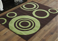 Large 8-10mm Thick Clearance Alpha 160x230cm Quality Multi Modern Soft Rugs 21. Halo Circle Brown Green