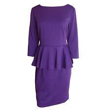 Purple Boat Neckline Peplum Pencil Dress Size 12
