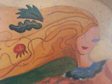 Peinture aquarelle la sirene abstrait poisson 69cm x 49cm