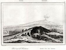 Sicilia:Ponte sul fiume Alcantara e monte Etna.Steel engraving.Passepartout.1835