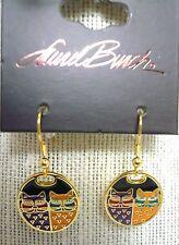Laurel Burch Portrait Cats #5011 Gold Tone Dangle Drop Pierced Earrings New NWT