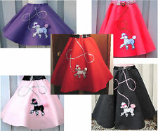 Girls 50s Fifties Hand-Made Felt Poodle Skirt--Choose Size & Color FREE SHIPPING