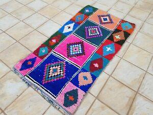 "Moroccan Vintage Boucherouite Rug 6'6""x3'4 Ft HandMade Berber Carpet, Azilal rug"