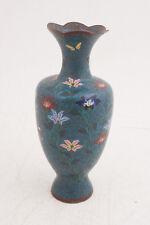 "Very Old Blue Cloisonne Vase (Damaged)(D2L)Blue Flowers Thin Brass Antique 7.5"""