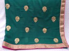 Brand New! Indian Saree With Blouse pièce. Vert/Or Avec Rose Bordure