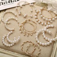 Fashion Gold Plated Women Pearl Big Circle Hoop Dangle Drop Ear Stud Earrings